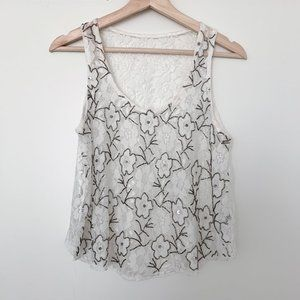 Lace Floral Beaded White Crop Tank - SM